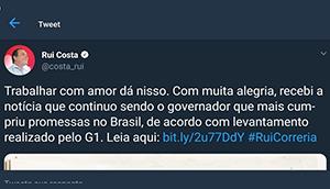 Rui Costa não é o governador que mais cumpriu promessas de campanha